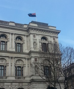 Die vlag van Montserrat bo-op die Foreign and Commonwealth Office
