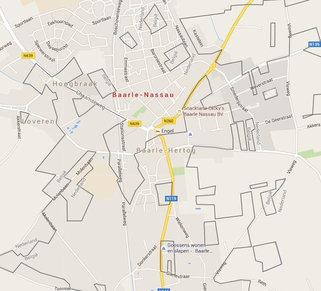 Kaart van Baarle-Hertog en Baarle-Nassau