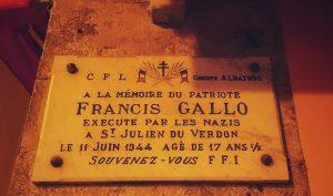 Francis Gallo, 'n Franse jong wat gefusilieer is